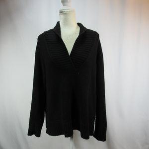 Jones New York Black V Neck Cashmere Wool Sweater